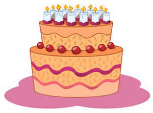 Free Clipart Picture of a Birthday Cake with Candles