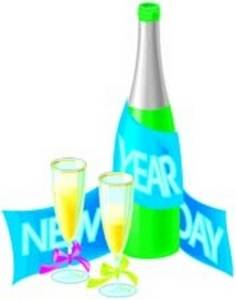 Free Clipart Picture of Champagne and Glasses for New Year's