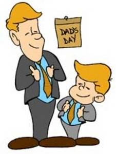 Clipart Picture of a Boy and His Dad