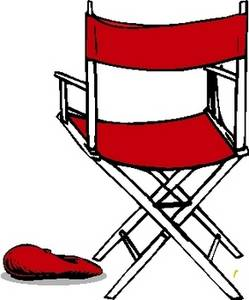 Free Clipart Picture of a Red Directors Chair