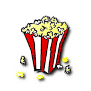 Free Clipart Picture of a Red and White Striped Bag of Popcorn