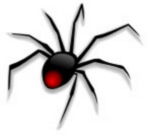 Free Clipart Picture of a Black Widow Spider
