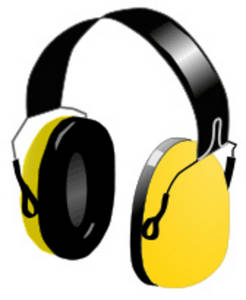 Free Clipart Picture of a Pair of Yellow Headphones