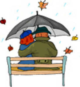 Free Clipart Picture of a Couple, Sitting on a Park Bench, in a Storm