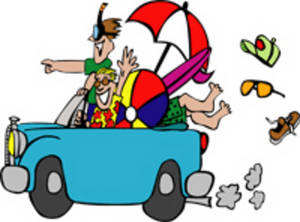 Free Clipart Picture of Teenagers Driving to the Beach