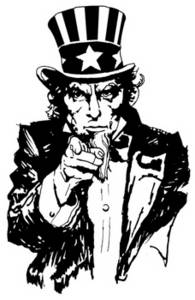 Free Clipart Picture of a Vintage Illustration of Uncle Sam