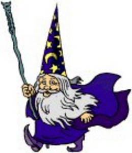 Free Clipart Picture of a Fantasy Wizard with a Sceptre