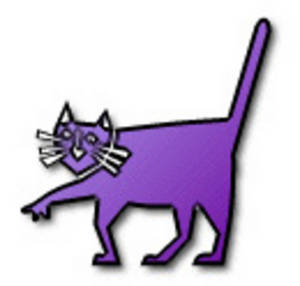 Free Low Res Clipart of a Purple Cat, Web Graphic