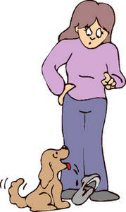 Free Clipart Picture of a Puppy Being Scolded