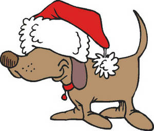 Free Clipart Picture of a Dog Wearing a Santa Hat