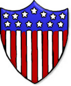 Free Clipart Picture of Red, White and Blue Shield