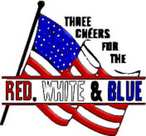 """Free Clipart Image of an American Flag with """"Three Cheers for the Red, White and Blue"""""""