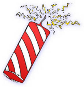 Free Clipart Picture of a Red and White Striped Firecracker