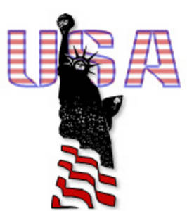 "Free Clipart Picture of the Statue of Liberty with ""U.S.A."" Behind Her"