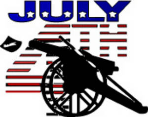 Free Clipart Picture of a Cannon with July 4th Written Over It