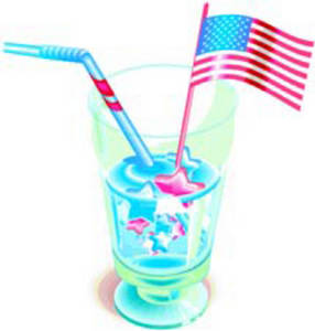 Free Clipart Picture of a Red, White and Blue Patriotic Drink