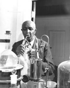 Free Black and White Photo of George Washington Carver Working in his Lab