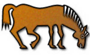 Clipart Picture of a Brown Horse Grazing
