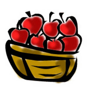 Free Clipart Picture of a Basket of Red Apples