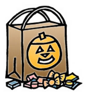 Free Halloween Clipart Picture of a Trick or Treat Candy Bag