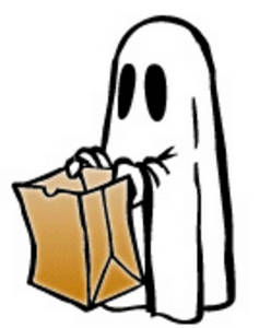Free Halloween Clipart Picture of a Child Dressed Like a Ghost