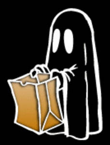 Free Halloween Clipart Image of Kid in a Ghost Costume