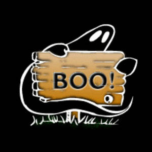 Free Halloween Clipart Picture of a Ghost with a Boo Sign on a Black Background