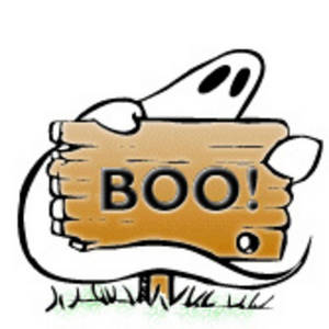 Free Halloween Clipart Picture of a Ghost with a Boo Sign on a White Background