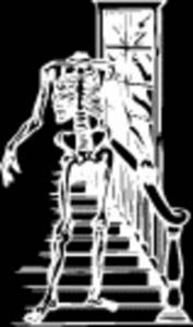Free Halloween Clipart Picture of of Headless Skeleton Coming Down a Staircase