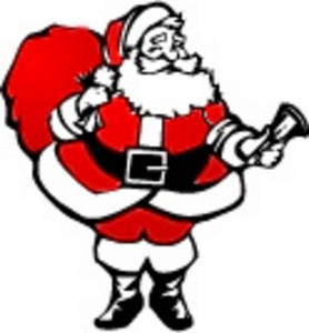 Free Christmas Clipart Picture of Santa Ringing a Bell