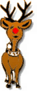 Free Christmas Clipart Picture of Rudolph the Red Nosed Reindeer