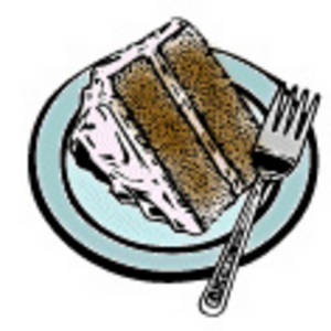 Free Clipart Picture of a Piece of Cake on a Plate