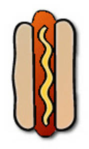 Free Clipart Picture of a Hot Dog with Mustard