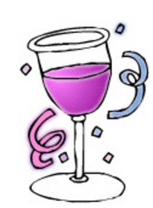Free Clipart Graphic of a New Year's Glass of Pink Champagne