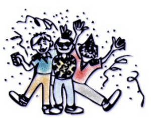 Free Clipart Picture of a Group of Guys Celebrating the New Year