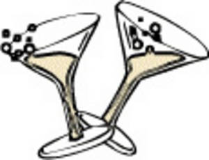 Free Clipart Picture of Two Glasses of Champagne