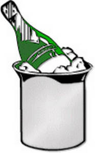 Free Clipart Picture of a Bottle of Champagne in an Ice Bucket