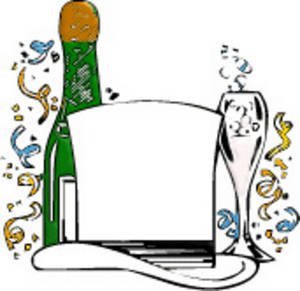 free clipart picture of a champagne bottle top hat and confetti