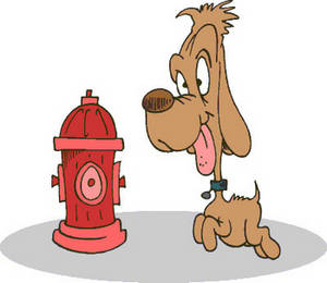 Free Clipart Image of a Dog Happy to See a Fire Hydrant
