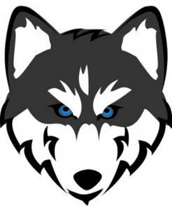 Free Clipart Image of a Husky with Blue Eyes