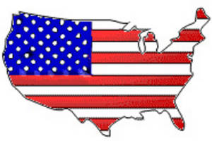 Free Clipart Picture of The United States With Stars and Stripes