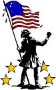 Free Clipart Picture of a Vintage Soldier with an American Flag