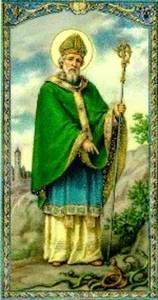 Free Vintage Clipart Picture of St. Patrick Driving Out the Snakes