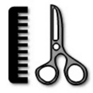 Free Clipart Picture of Hair Scissors and a Comb