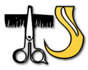 Free Clipart Picture of  Shears, a Comb and a Lock of Hair
