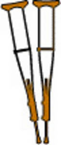 Free Clipart Picture of Wooden Crutches