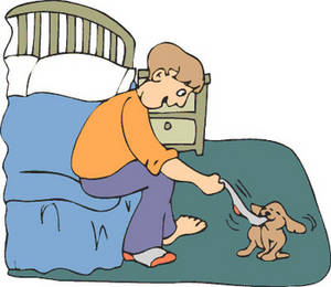 Free Clipart Picture of Puppy Playing Tug with a Boy