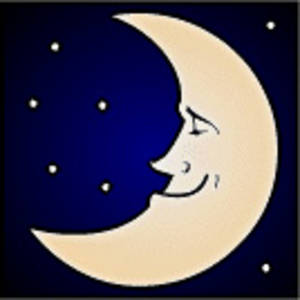 Free Clipart Picture of a Smiling Moon in a Night Sky