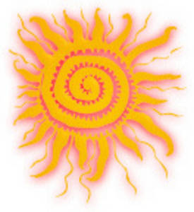 Free Clipart Picture of a Shining Yellow Sun