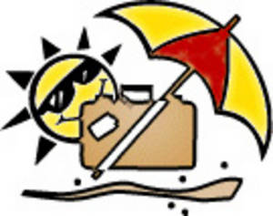 Free Clipart Picture of a Beach Umbrella, Suitcase and the Sun at the Beach